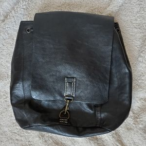 Black Pebbled Leather Backpack